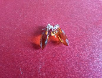 Pointed Faceted amber drop earrings