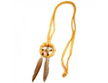 tan medicine wheel leather necklace