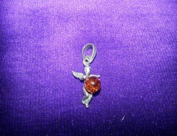 cherub pendant with amber